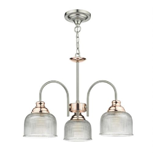 Wharfdale 3 Light Pendant Satin Chrome Copper + Textured Glass (Double Insulated) BXWHA0346-17